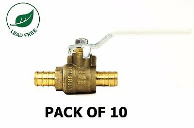 "1/2"" PEX Brass Ball Valve Full Port Lead Free PSI Non-Shock WOG - Pack of 10"