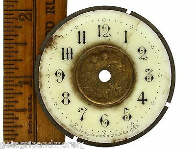 "Antique ANSONIA CLOCK CO. FACE/DIAL 2"" Ornate BRASS & PORCELAIN w/ Floral Motif"