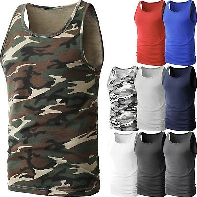 Mens TANK TOP Heavy A-Shirt Plain Cotton Basic Muscle Gym Workout Sleeveless Tee