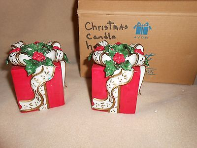 2001 Avon  Porcelain Christmas Gift Box Taper Candle Holders Set Of 2
