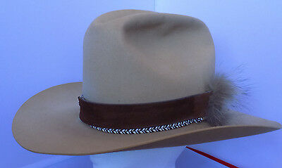 Kenny Rogers Cowboy Hat by Miller Bros Western Collection Tan Rabbit Fur Sz  7 4b4d53406ae