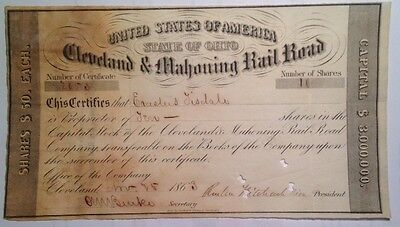 1863 Civil War, Railroad Stock certificate from Ohio, Cleveland & Mahoning RR #1