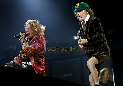 "Angus Young Poster Photo AC/DC w Axl Rose 12x18"" 2016 UK LIve Concert Tour s124"