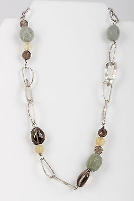 Silpada Sterling Silver Chunky Earthtone Stones Necklace 925 Signed 1747