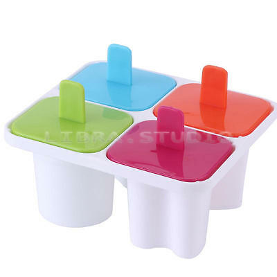 Popsicle Maker Silicone Craft Pudding Tray Pop 4 Cell Ice Cream Freezer Mold HOT