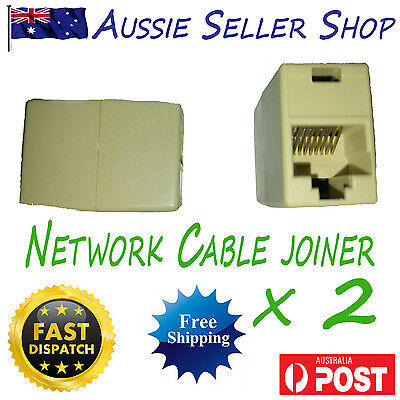 2 x RJ45 CAT5e CAT6 Network Giga LAN Cable Extension Coupler Joiner Connector
