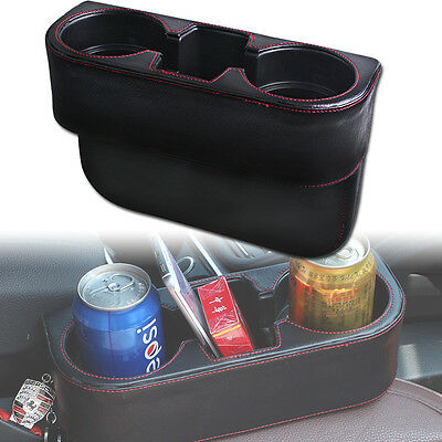 New Leather Car Auto Seat Seam Dual-Cup Drink Bottle Storage Holder Mount Stand