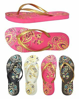 New Girl's Summer Floral Print Two Toned Beach Flip Flop Sandals--388 K (印花)