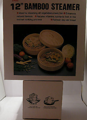 "Bamboo Steamer 3pcs30cm/12"" Diameter Superior quality bamboo"