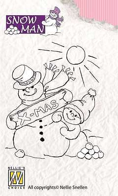 Nellies Choice Clear Stempel Snowmen snowy Christmas wishes 101803