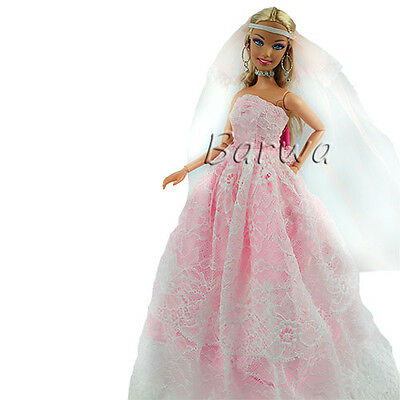 Handmade Pink Evening Wedding Party Gown Clothes Dress with Veil for Barbie Doll