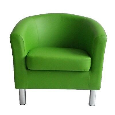 Modern Leather Tub Chair Armchair Dining Room Office Reception - Green