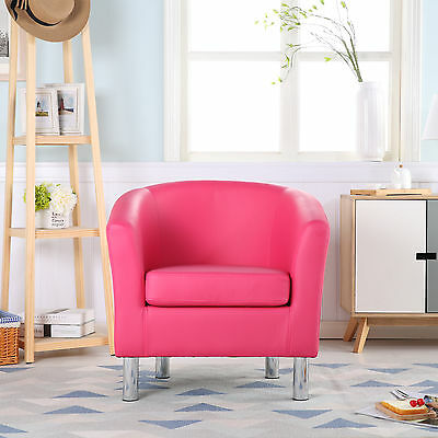Modern Leather Tub Chair Armchair Dining Room Office Reception - Bright Pink