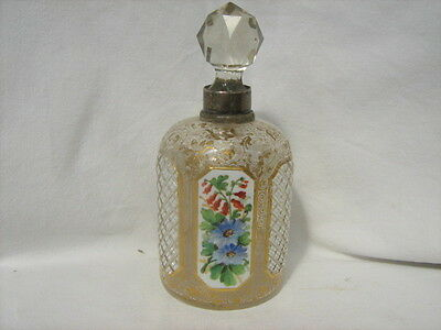 1907 Bohemian enamel overlaid glass scent bottle, solid silver hallmarked top
