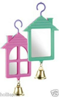 Classic Double Sided Budgie Canary Bird Mirror Toy House Shape With Bell