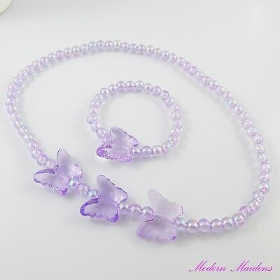 5x 2pce set Girls Butterfly Bracelet & Necklace Set Deluxe Party Favour Pack