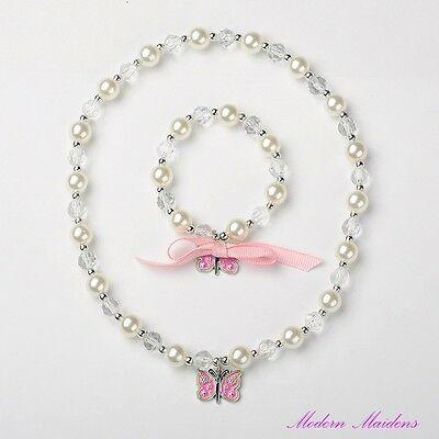 Girls Crystal & Pearl Beaded Butterfly Bracelet & Necklace Set