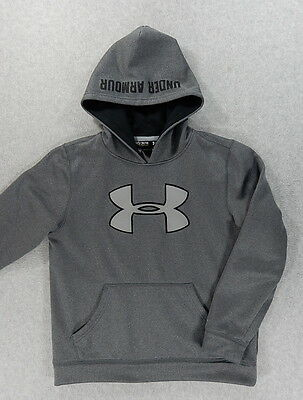 Under Armour STORM Stitched Logo Hoodie Sweatshirt (Youth Medium) Gray