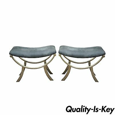 Pair of Mid Century Modern Baughman Style Contemporary Chrome Stools Benches