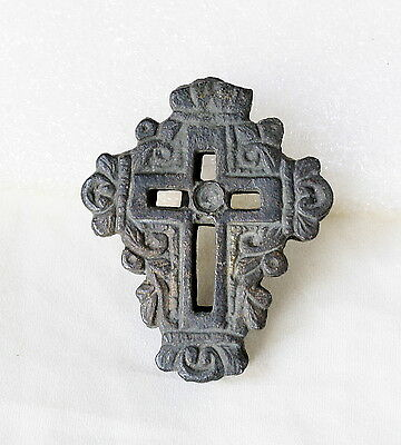 ANCIENT MEDIEVAL BYZANTINE ORTHODOX Ornate BRONZE Travel DOUBLE CROSS Pendant 1