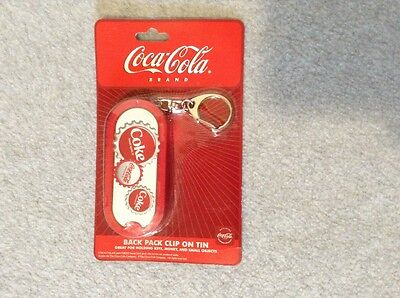 "Coca-Cola Back Pack Clip On Tin 3 1/2"" Oval - Holds Keys, Etc. - NIP! (#YE-1)"
