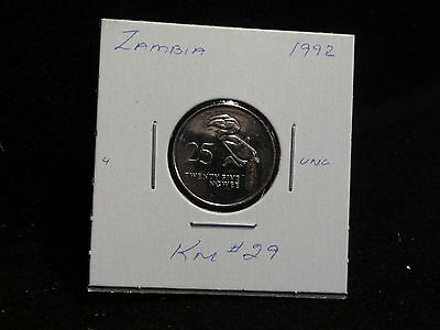 Zambia:   1992     25 Ngwee    Coin     (Unc.)    (#2986)  Km # 29