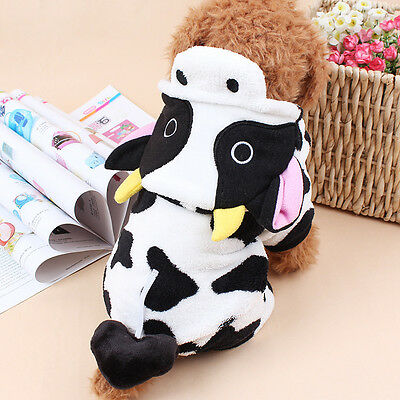 Cute Pet Dog Cat Clothes Funny Puppy Dairy Cow Costume Christmas Hoodie Dress