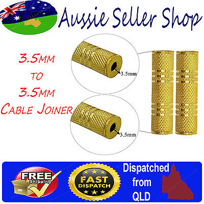Gold Plated AUX 3.5mm Female to Female Joiner Stereo Audio Adapter jack