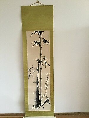 Antique Korean Silk Hanging Bamboo Painting Scroll