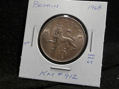 (Great Britain):  1968    10 New Pence   Coin  Gem  (Unc.)  (#861)  Km # 912