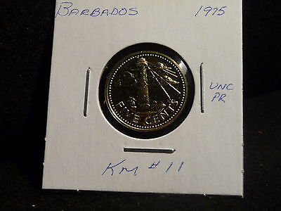 Barbados: 1975   5 Cents  Coin  Proof   (Unc.)    (#2534)  Km # 11