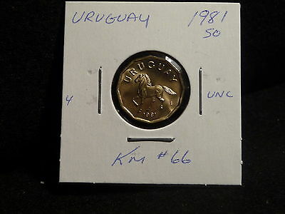 URUGUAY : 1981 So   10 CENTESIMOS  COIN    ( UNC.)  (#3834)  KM # 66