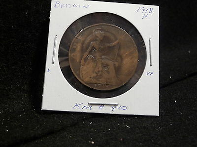 Uk (Great Britain):  1918 H   1 Penny  Coin  George V   (Vf.)  (#1714)  Km # 810