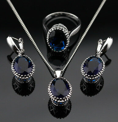 925 Silver SAPPHIRE BLUE Crystal Earrings Necklace Ring SIZE 6 Jewelry Set GIFT