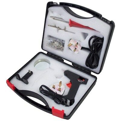 30W Electric Soldering Iron Hot Glue Gun Tool Kit Magnifier & Case Craft Hobby