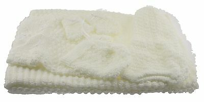 6 pc Crochet Baby Set popcorn style Blanket Pants Sweater Hat Booties - Ivory