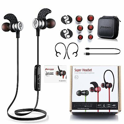 Noise Cancelling Bluetooth Headphones,Parasom Magnetic Wireless Earbuds-Silver