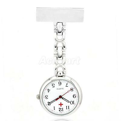 Silver Nurses Fob Pocket Watch with Date White Face Quartz Analog Watch