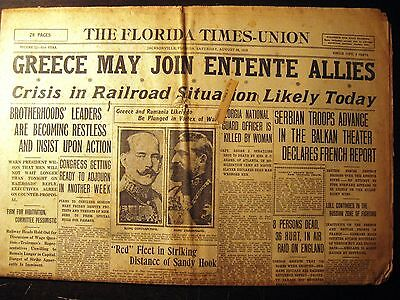 """Newspaper """"The Florida Times Union"""" August 26,1916   WWI"""