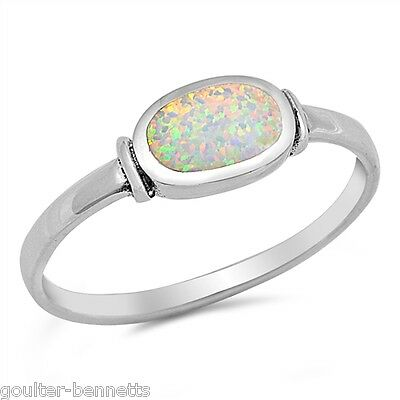 925 Sterling Silver & Bezel Set Lab Created Opal Stacking Stacker Ring