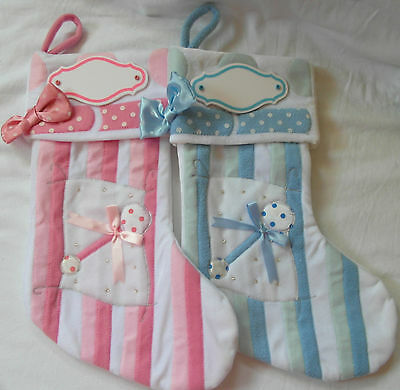 CHRISTMAS STOCKING with NAME PLAQUE - PINK / BLUE - Fireplace Decoration