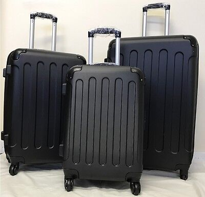 Hard Case 4 Wheel Spinner Suitcase Luggage Case Trolley Cabin Carry On PC BLACK