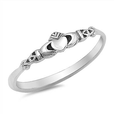 Skinny 925 Sterling Silver Celtic Style Claddagh Stacking Stacker Band Ring