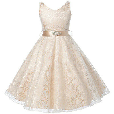 CHAMPAGNE Lace Flower Girl Dresses Birthday Wedding Bridesmaid Graduation Party