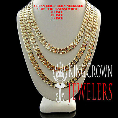 Mens Ladies 18K Solid Yellow Gold Overlay 9 Mm Cuban Curb Link Chain Necklace