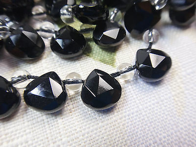 "9x9mm Faceted Teardrop Briolette Shape Black Agate 7""-8"" INCH Stones Beads !("