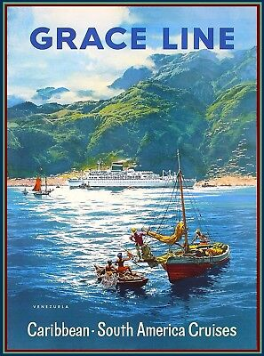 Grace Line Venezuela South America Vintage Travel Advertisement Art Poster