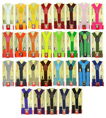 Baby Toddler Children Boys & Girls Plain Y-Back Elastic Suspenders 29 Colors