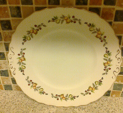 Royal Vale Fancy Cake Serving Plate 2 Handles Fruit Design Pear Cherry & Berry