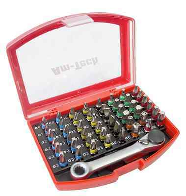 49pc Colour Coded Screwdriver Bit Set Mini Ratchet Phillips Pozi Torx Hex Star
